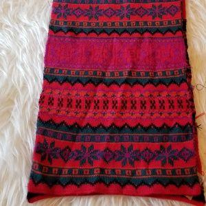Aris Knit Scarf Red Green Black Vintage